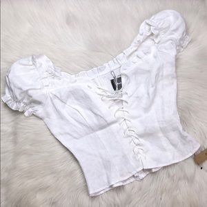 REFORMATION WHITE LINEN LACE UP BLOUSE 0